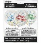 Балони HAPPY BIRTHDAY  с шарени конфети - 6 броя