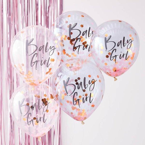 "Балони ""Baby GIRL"" с конфети - 5 броя"
