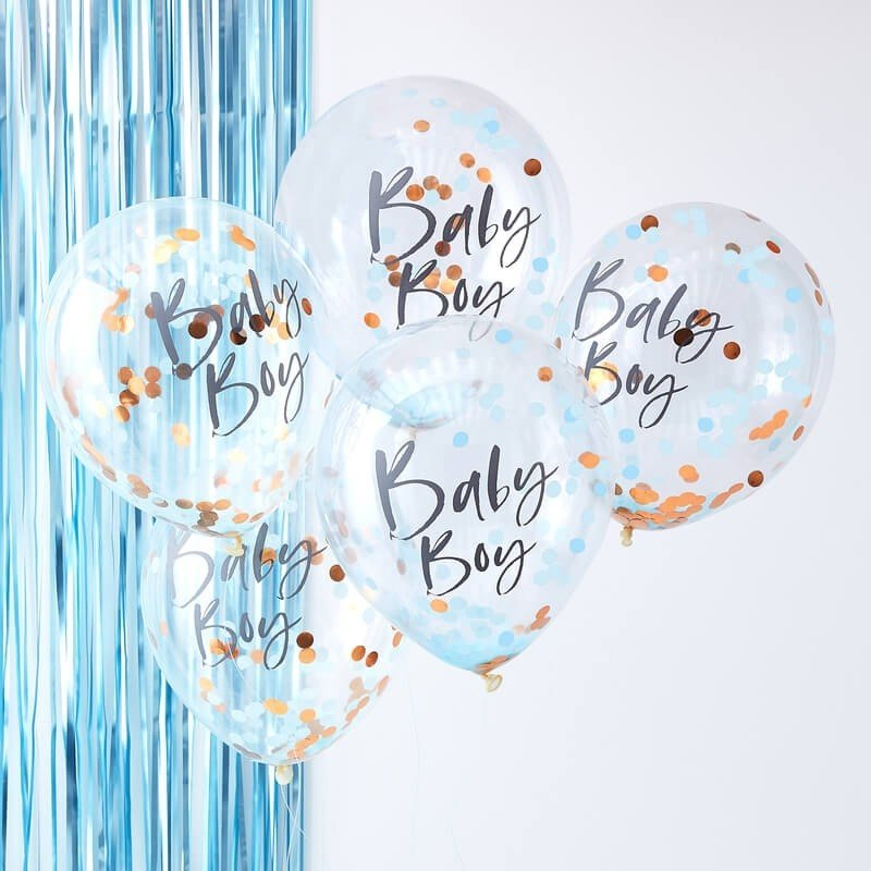 "Балони ""Baby BOY"" с конфети - 5 броя"
