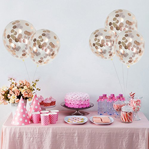 Латексови Балони с конфети в розово злато - 5 броя