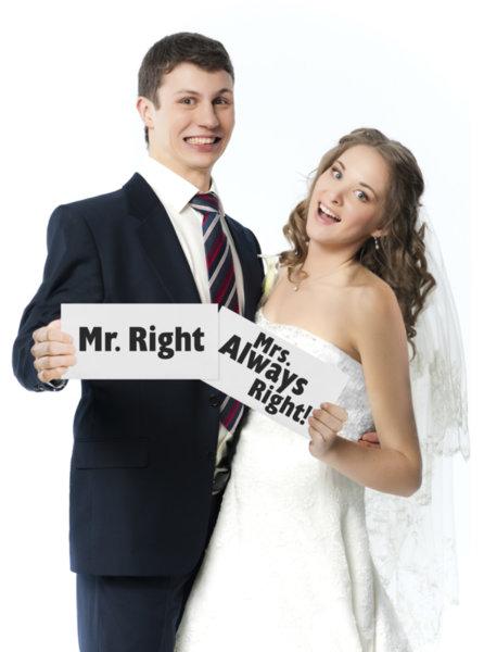 Забавни табелки Mr. Right и Mrs. Always Right