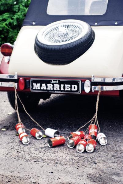 Сватбени тенекиени кутии за кола - ретро стил