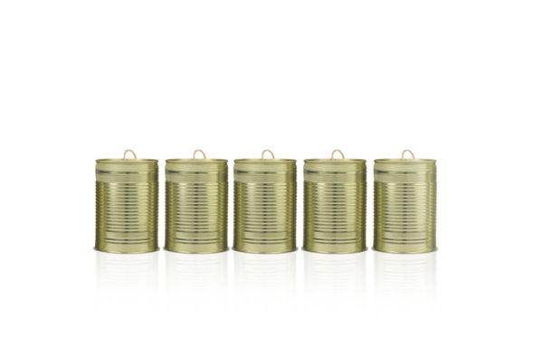 Сватбени тенекиени кутии в светло злато