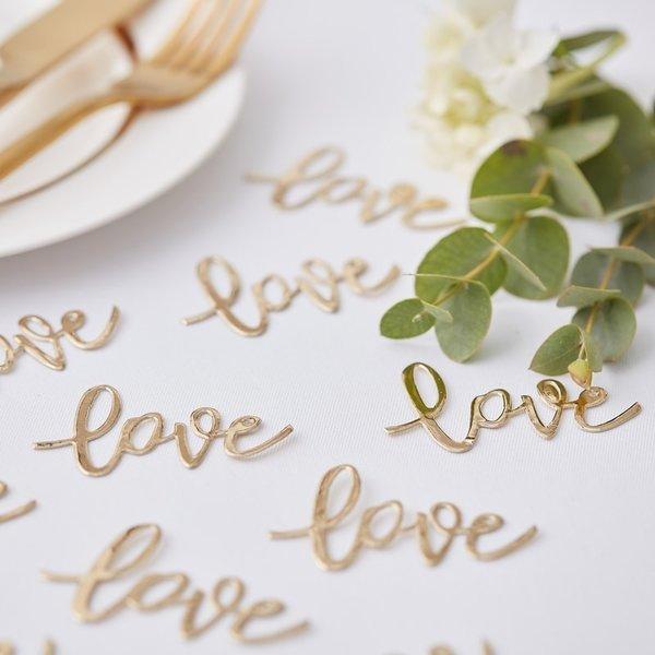 Златни Сватбени Конфети - LOVE