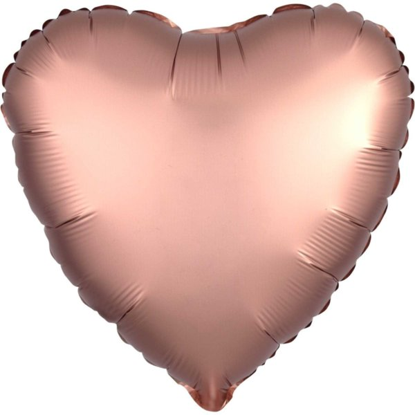 "Голям Фолио Балон ""Сърце"" в розово злато - 45 см"