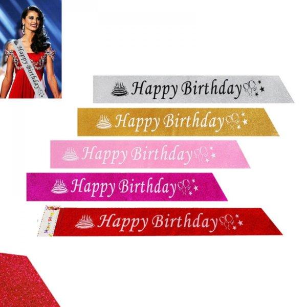"""Парти лента """"Happy Birthday"""" с брокат"""