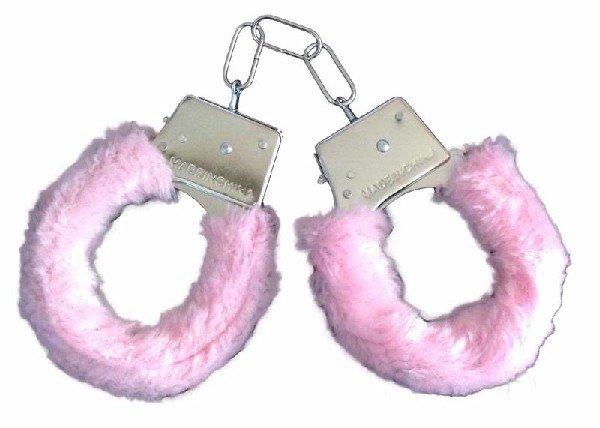 Белезници с розов пух