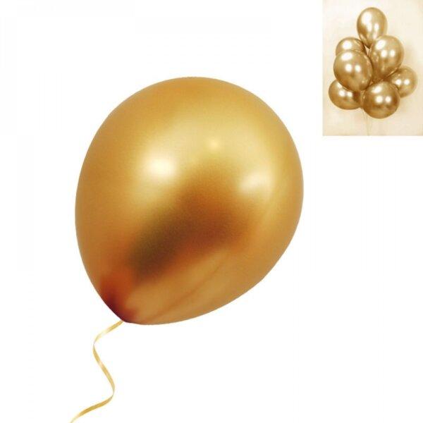 Балони хром в злато - 5 броя