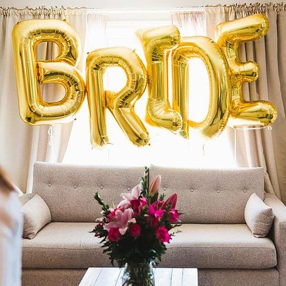 Джъмбо надпис BRIDE от 1м. големи букви в метално злато