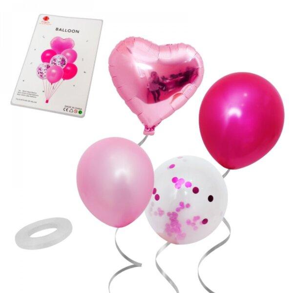 """Комплект Балони """"Сърце"""" /7 броя/ - розови"""