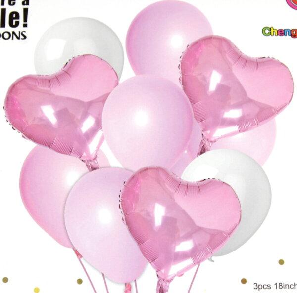 "Комплект Балони ""Сърца"" /10 броя/ - Розови"