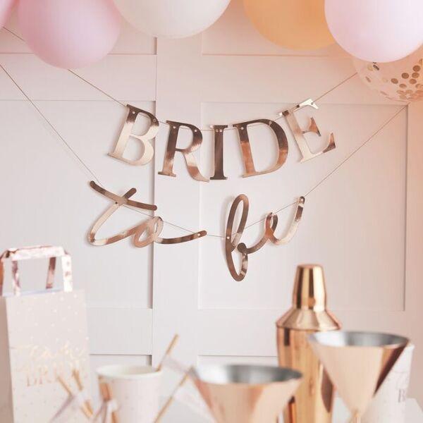 Банер Bride To Be в цвят розово злато