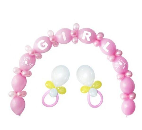 Арка от 64 балона в розово за разкриване полът на бебето