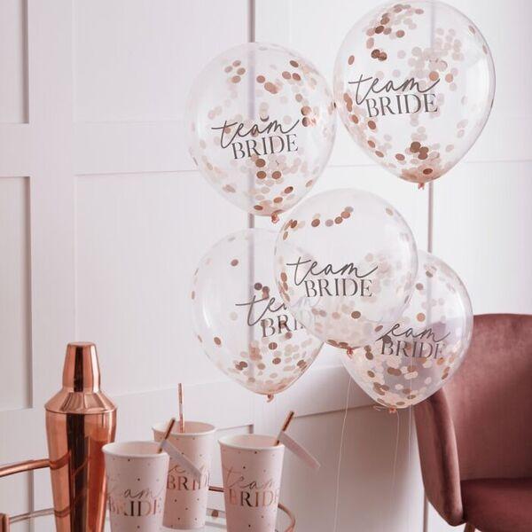 Балони Розово злато - големи, стилни красиви 2020г, с надпис TEAM BRIDE