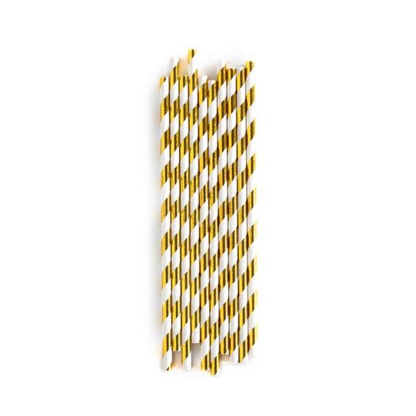 Хартиени сламки златно райе 19,5 см (1 пакет/ 10 бр.)
