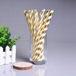 Хартиени сламки в розово злато 19,5 см (1 пакет/ 10 бр.)-Copy