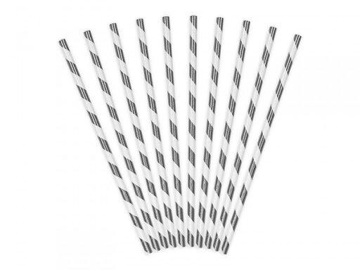 Хартиени сламки сребърно райе 19,5 см (1 пакет/ 10 бр.)