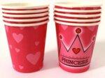 Хартиени чаши в розово - PRINCESS - 10 броя-Copy