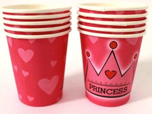 Хартиени чаши в розово - PRINCESS - 10 броя