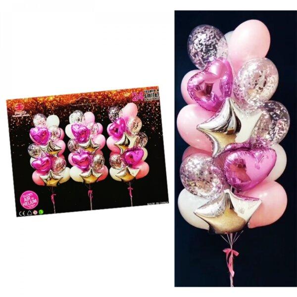"""Луксозен комплект балони """"Розови сърца"""""""
