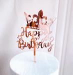 """Топер за Торта  """"Happy Birthday"""" - с корона в розово злато"""
