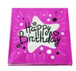 Парти салфетки с надпис Happy Birthday в розово - 20 броя