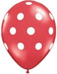 Червени латексови балони с бели точки- 30 см - 5 броя