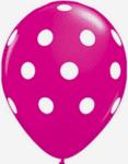 Цикламени латексови балони с бели точки- 30 см - 5 броя