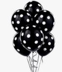 Черни латексови балони с бели точки- 30 см - 5 броя