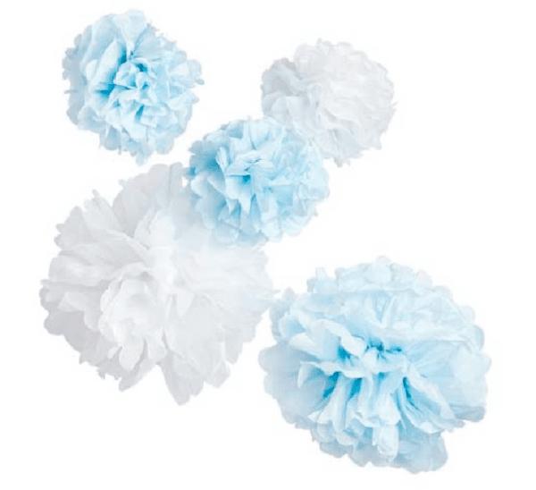 Парти украса в синьо и бяло - 5 броя