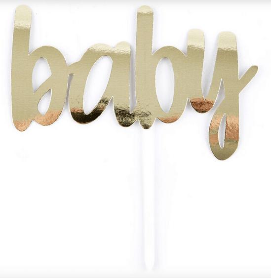 Tопер за торта BABY  - златен  - 15.2 см