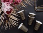 Парти чаши - черни със златни ленти 260 ml - 6 броя