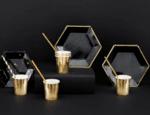 Парти чинии черни със златен кант - 23 см - 6 броя