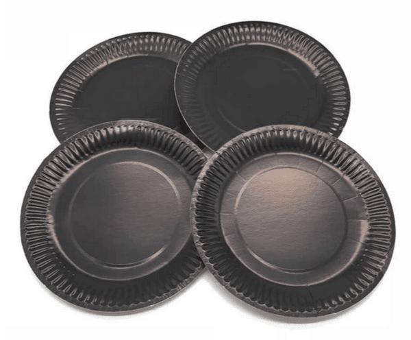 Парти чинии  в черно  - 23 см -  10 броя