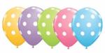латексови балони с бели точки- 30 см - 5 броя