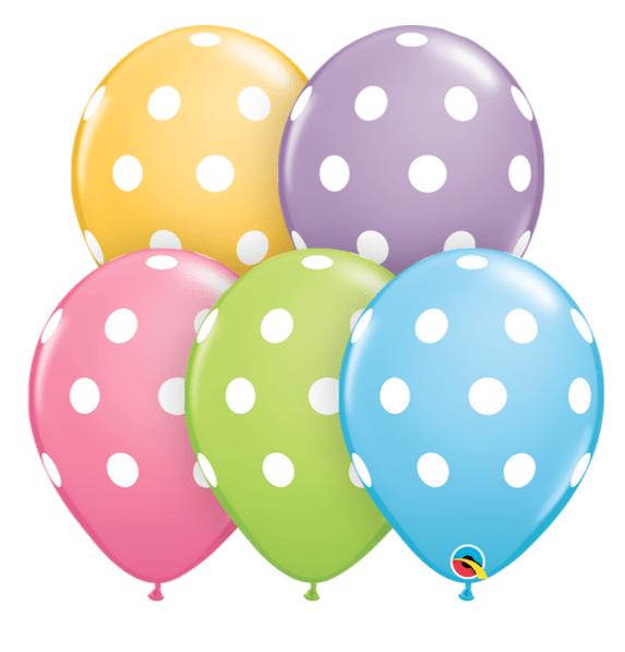 Латексови балони с бели точки микс - 30 см - 5 броя