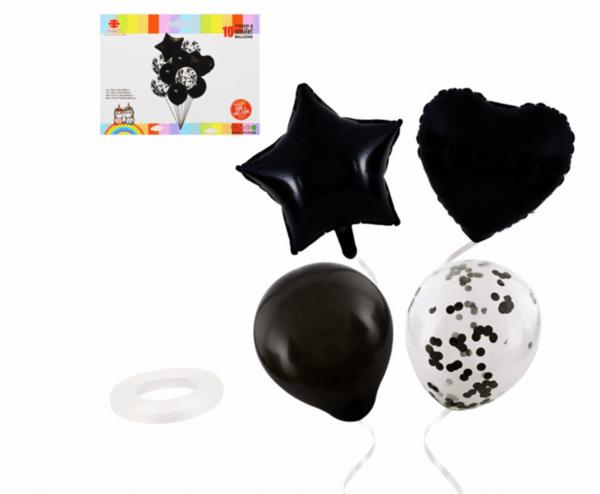 """Балони """"Звезда и Сърце""""  черни -10 броя - комплект"""