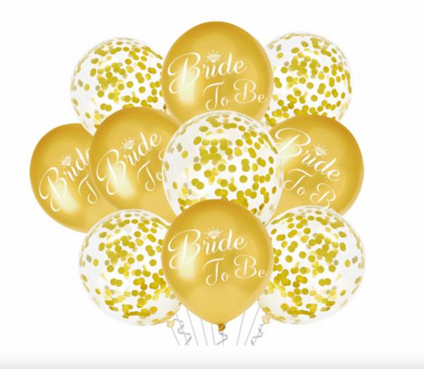 """Сет от 10 балона """"Bride To Be"""" в  злато"""