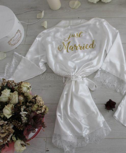 Луксозен халат с дантела за младоженки