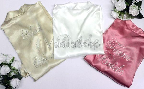 Сатенени халати за моминско парти с надписи от камъчета