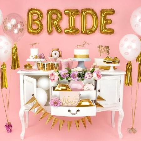 Голям Надпис BRIDE от златни балони foil 45 cm буквата