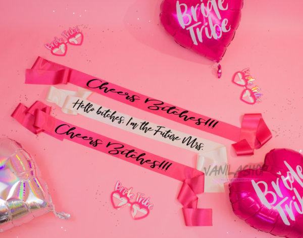 """Сатенена Ленти """"Bitches"""" - избор на различни цветове и надписи 2019"""