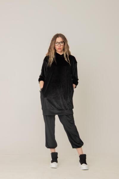 Μακρύ φούτερ με κουκούλα από λείο βελούδο: /AMMIH/