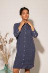 Κλασικό φόρεμα σε στιλ πουκάμισο με μήκος ως το γόνατο από υψηλής ποιότητας λινό ύφασμα: /PEPIMA/-Copy