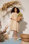Φαρδύ μίντι λινό καλοκαιρινό φόρεμα με κλιμακωτή γραμμή και μπροστινά λουράκια: / YAMILET/