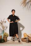 Λινό μίντι κυματιστό φόρεμα: /MANAMI/-Copy