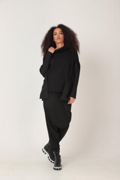 Μαύρο oversize ζιβάγκο φούτερ με μαύρα ασορτί λεία μανίκια: /AZIZA/