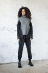 Μαύρο oversize ζιβάγκο φούτερ με μαύρα ασορτί λεία μανίκια