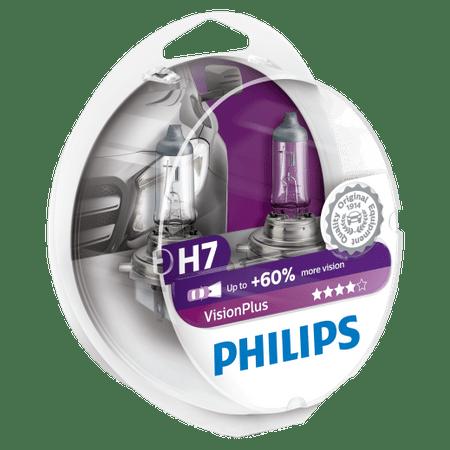 Комплект 2 халогенни крушки Philips H7 Vision Plus, +60%, 12V, 55W