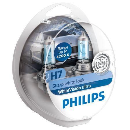 Комплект 2 халогенни крушки Philips H7 White Vision Ultra, 4200K, 12V, 55W, PX26D